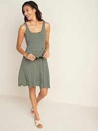 Sleeveless Fit & Flare Striped Jersey Dress for Women