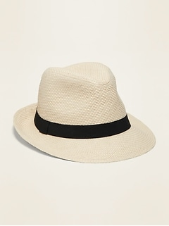 Straw Ribbon-Trim Fedora for Men