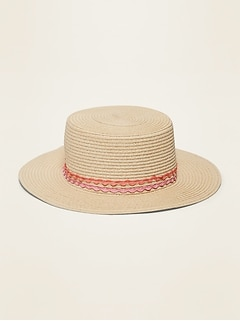 Straw Boater Hat for Girls