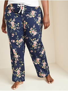 Printed Poplin Plus-Size Pajama Pants