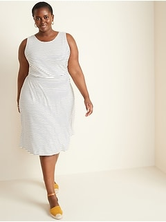 Striped Rib-Knit Waist-Defined Plus-Size Dress