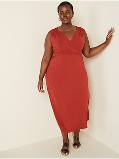 Waist-Defined Plus-Size Wrap-Front Maxi Dress