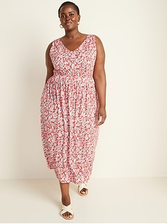 Sleeveless Plus-Size Waist-Defined Maxi Dress