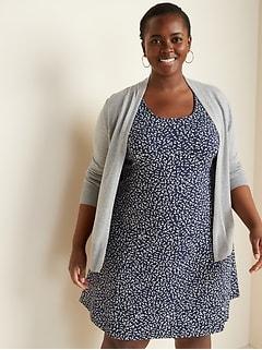 Plus-Size Short Open-Front Sweater