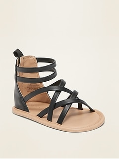 Faux-Leather Cross-Strap Gladiator Sandals for Baby
