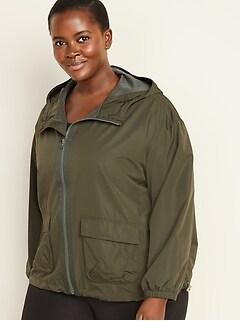 Hooded Utility Plus-Size Performance Jacket