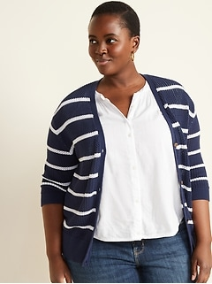 Striped Open-Knit Button-Front Plus-Size Cardigan