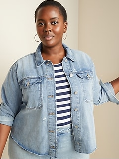 Cropped Cut-Off Plus-Size Jean Jacket