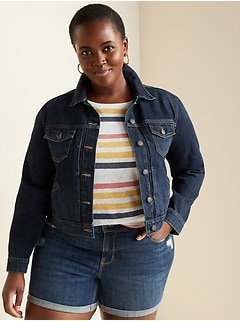 Dark-Wash Cropped Plus-Size Jean Jacket