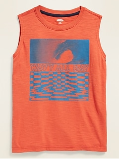 Graphic Slub-Knit Muscle Tank Top for Boys