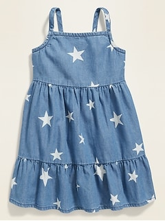 Star-Print Tiered Cami Dress for Baby
