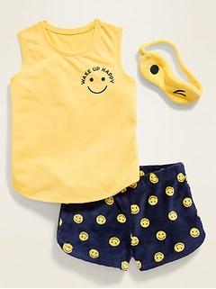 Graphic Tank, Shorts & Sleep Mask 3-Piece Pajama Set for Girls