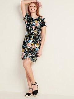 Twist-Front Ponte-Knit Sheath Dress for Women