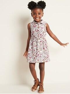 Cinched-Waist Sleeveless Shirt Dress for Toddler Girls