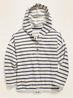Striped Cinched-Hem Baja Hoodie for Girls