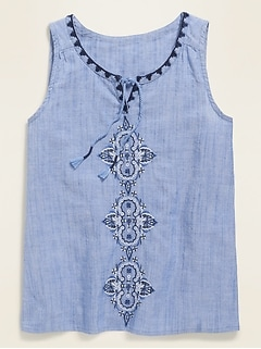 Sleeveless Embroidered Tassel-Tie Top for Girls