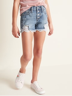 Lace-Hem Distressed Jean Cutoffs for Girls