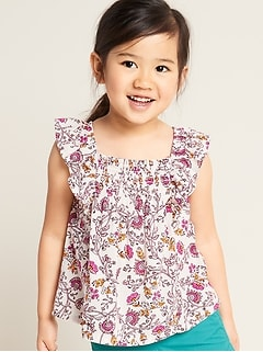 Floral Ruffle-Trim A-Line Top for Toddler Girls