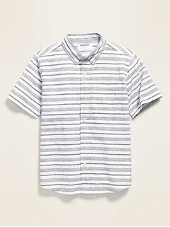 Textured Dobby-Stripe Short-Sleeve Shirt for Boys