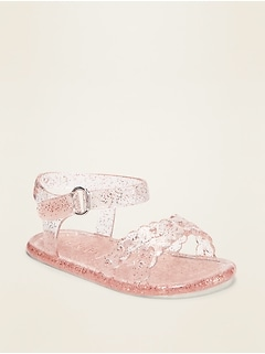 Scalloped Cross-Strap Glitter Jelly Sandals for Baby