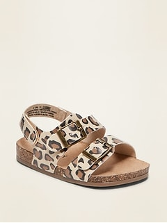 Leopard-Print Faux-Leather Double-Strap Sandals for Baby