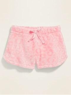 Printed Sherpa Pajama Shorts for Girls