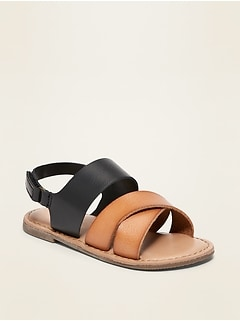 Faux-Leather Cross-Strap Sandals for Toddler Girls