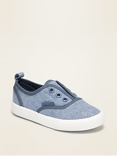 Piped-Trim Canvas Slip-On Sneakers for Toddler Boys