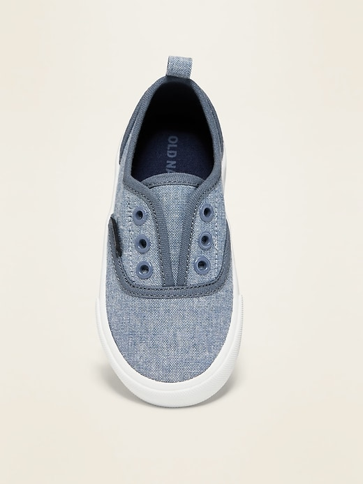 Piped-Trim Canvas Unisex Slip-On Sneakers for Toddler