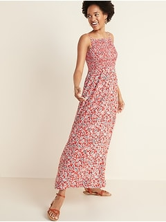 Floral-Print Smocked-Top Maxi Sundress for Women