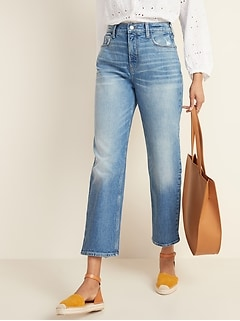 Extra High-Waisted Distressed Boyfriend Straight Jeans for Women