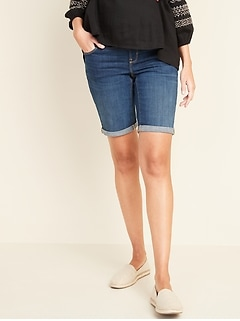 Maternity Full-Panel Slim Bermuda Jean Shorts -- 9-inch inseam
