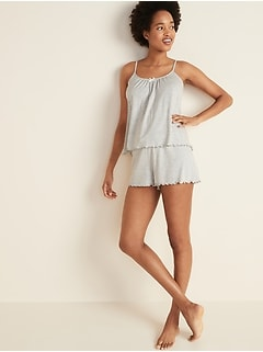 Jersey-Knit Cami & Boxer Shorts Pajama Set for Women