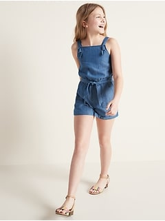 Chambray Utility Romper for Girls
