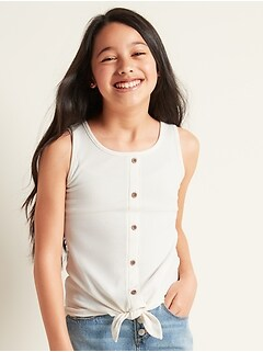 Rib-Knit Tie-Front Tank Top for Girls