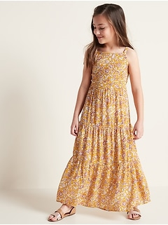 Sleeveless Tiered Floral Maxi Dress for Girls