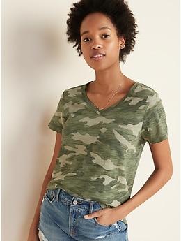 T-shirt à imprimé à col enV Tout-aller pour femme