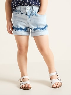 Tie-Dyed Cuffed Jean Shorts for Toddler Girls