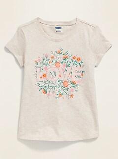 T-shirt à imprimé à col échancré pour toute-petite fille