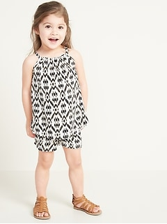 Sleeveless A-Line Top & Shorts Set for Toddler Girls