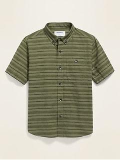Chemise armurée à rayures texturées à manches courtes pour garçon