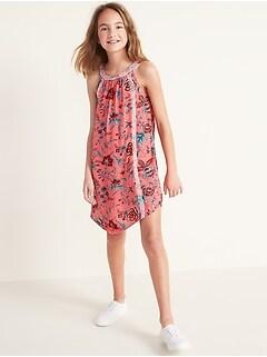 Printed Halter Swing Dress for Girls