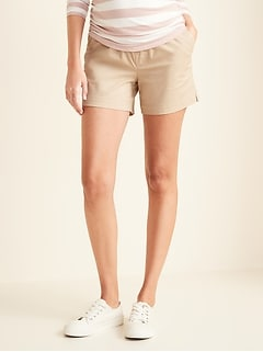 Maternity Full-Panel Twill Shorts - 5-inch inseam