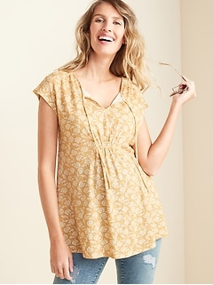 Maternity Tie-Neck Linen-Blend Top