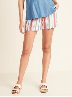 Maternity Full-Panel Linen-Blend Shorts - 5-inch inseam
