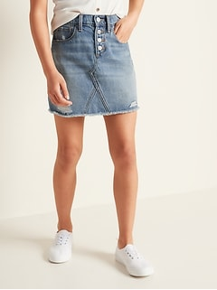 Jupe en jean à ourlet effiloché, taille haute et braguette à boutons pour fille