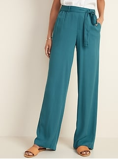 High-Waisted Tie-Belt Soft Pants for Women