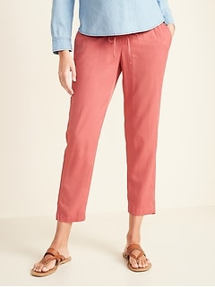 Maternity Rollover-Waist Cropped Soft Pants