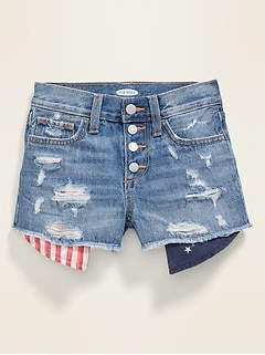 Exposed-Pocket Distressed Jean Shorts for Girls