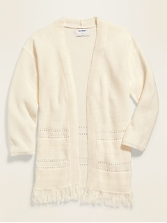 Fringe-Hem Open-Front Sweater for Girls